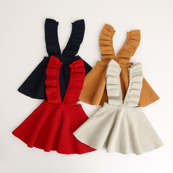 Kızlar Elbise 2017 Avrupa Amerikan Tarzı Parlama Kol Örme Pamuk Kayış elbise Çocuk Giyim 4 Renkler