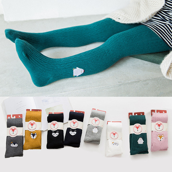 Ins Children pantihose Tights Leggings Cute Embroidery Fox Penguin Owl No pilling Cotton Spring Fall winter 1-12YEARS wholesale