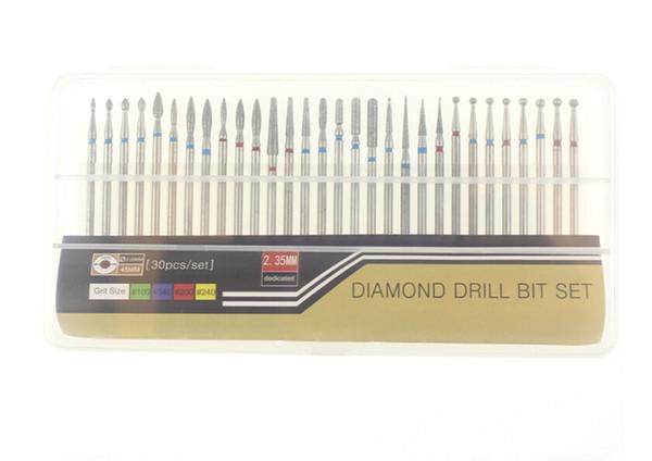 30 шт. / Компл. Diamond Nail Drill Bit Set Шлифовальные для электрических маникюрных машин Аксессуары Nail Art Clean Burr Наборы инструментов