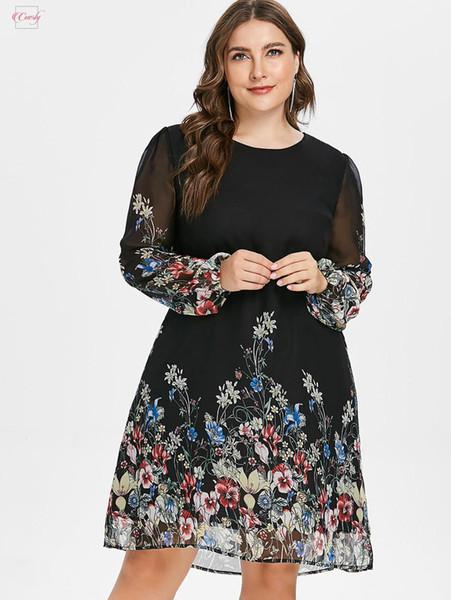 Artı Boyut Kadın Elbise Tunik Uzun Kol Çiçek Sonbahar Zarif Tribal Çiçek Baskı Meslek Gömlek Elbise 5XL yazdır