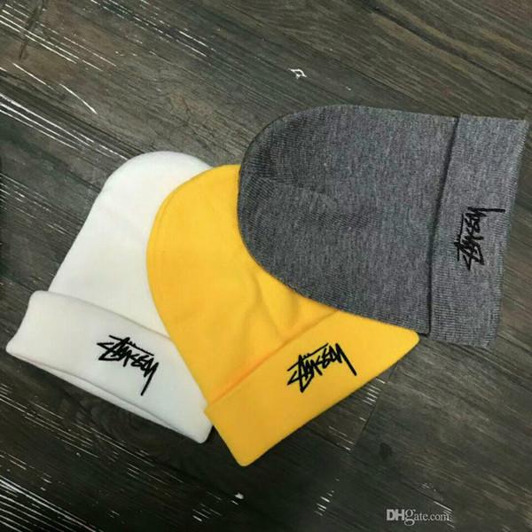 95f56dd78 2019 Hot AAA Men Women'S Winter Beanie Men Hat Casual Knitted Caps Hats Men  Sports Cap Black Grey White Yellow Hight Quality Skull Caps Newborn Hats ...