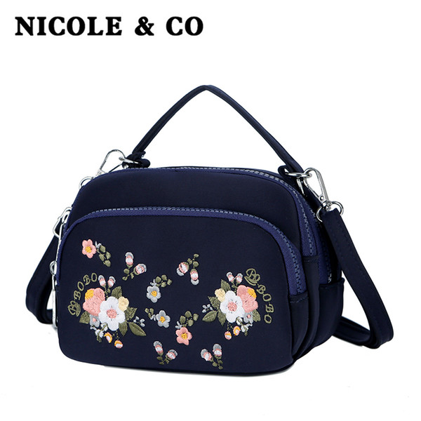 NICOLE CO Yeni kadın çantası tek omuz kanvas çanta moda çapraz vücut naylon kız telefon Seyahat