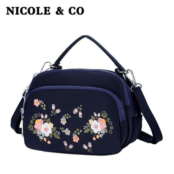 NICOLE & CO New women's bag single shoulder canvas bag fashion cross body nylon girls phone Travel