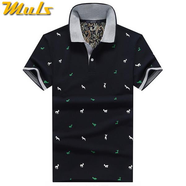 Summer Mens Polo Shirt Cotton Polka Dot Short Male Polo Men Top Tee Quick Dry Size M -3xl Muls Brand Fashion Black White Gray1613