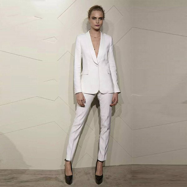 Charming Ivory Women Tuxedos Shawl Lapel Suits For Women Ladies Work Wear One Button Business Women Suits Two Piece Suits