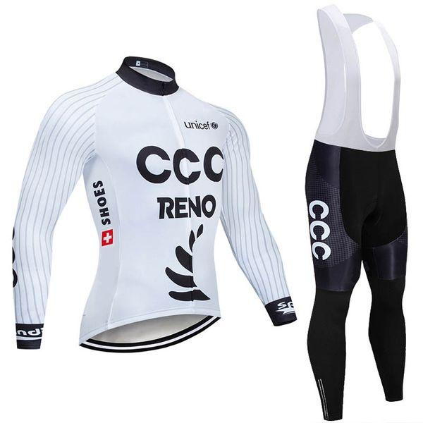 Pantalone con bretelle in jersey manica lunga da ciclismo team CCC set mens quick dry ropa ciclismo MTB Abbigliamento da bici abbigliamento da corsa U72306