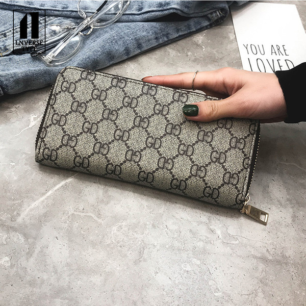 women's wallet female purse Long plaid print flower portable mini Handbag ladies purse PU wallet ladies long clutch men's