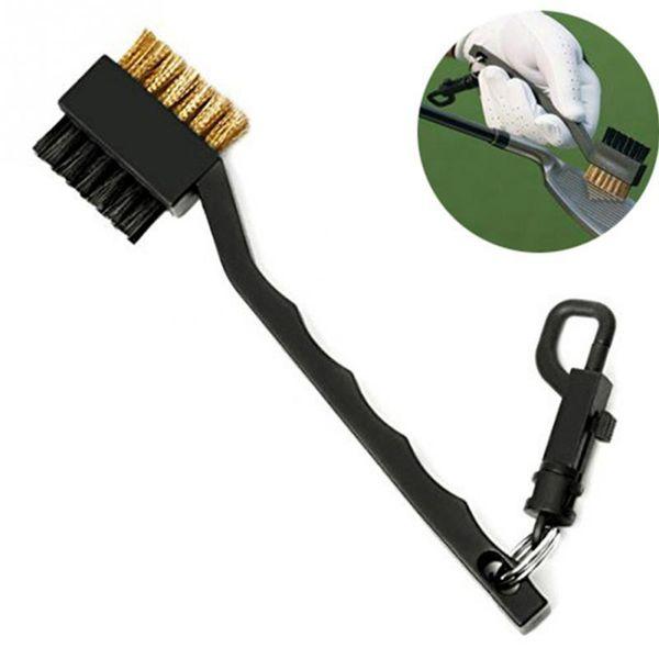 Mini Double Side Golf Messing + Nylon Golfschlägerkopf Groove Cleaner Pinsel Reinigungswerkzeug Kit mit Aufhänger Golf Zubehör Requisiten ZZA326