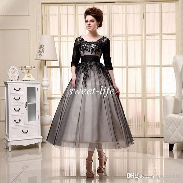 top popular SQ18016 Free Shipping 2019 A-Line Mother of the Bride Dresses Black Half Sleeves Party Dress Lace Up Tea Length Applique Lace Evening Gowns 2019