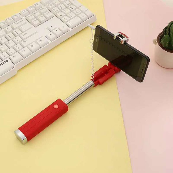 Best selling new lipstick self-timer stainless steel mini wire control Apple, Android cellphone universal selfie monopods