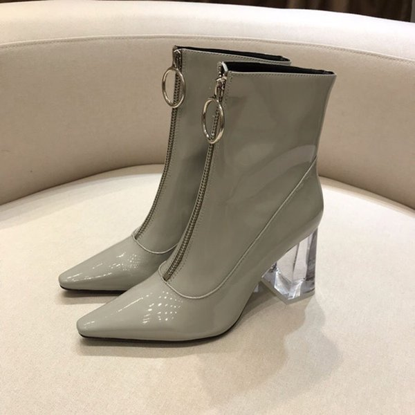 da98ffefe 2018 2019 high quality spring fall womens black Grey shiny patent leather  booties clear pvc Rubber