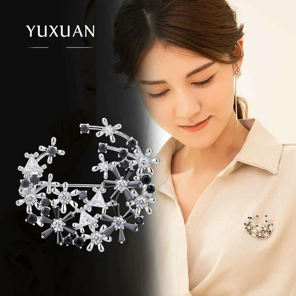 Simple flower brooch creative blouse jacket pin accessories High-end atmosphere