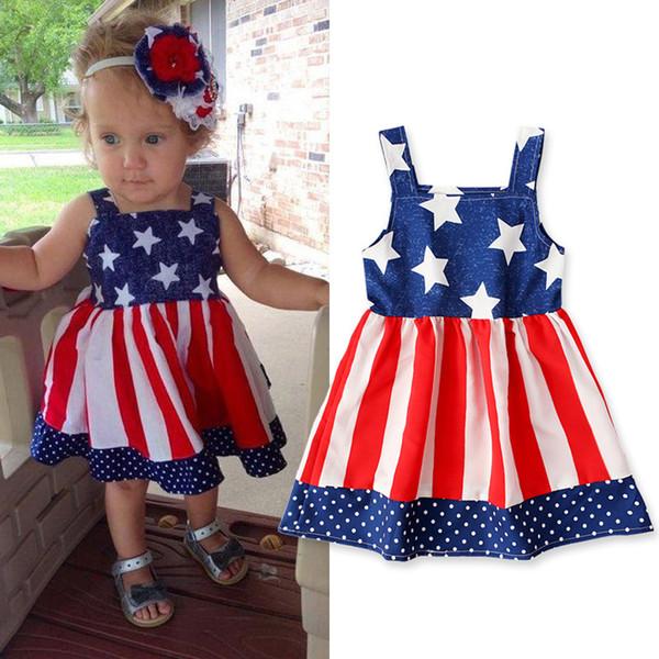 Kinder Independence Day Kleid Mädchen Sterne Streifen Baby Hosenträger ärmellose Druck Flagge US American Princess Kleider LJJA2344