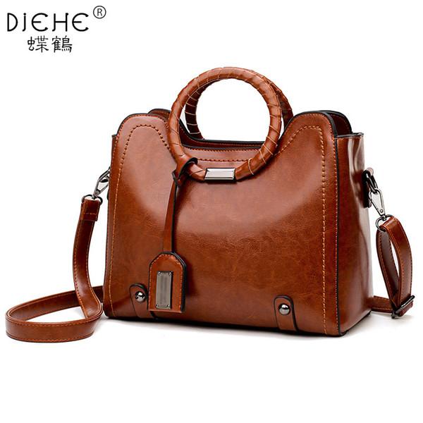 Vintage Handbag Women Brown Leather Shoulder Bag Ladies Retro Tote Large PU Handbags Bolso 2018 Fashion Big Black shopping Bags