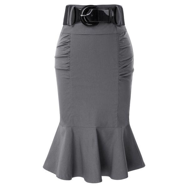 Vintage bureau sirène travail bureau jupes femmes 2018 dames trompette taille haute été décontracté jupe crayon moulante avec ceinture J190426