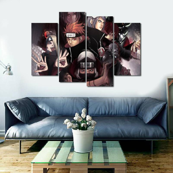 4pcs/set Unframed Naruto The Akatsuki Group Anime Poster Print On Canvas Wall Art Picture For Home and Living Room Decor