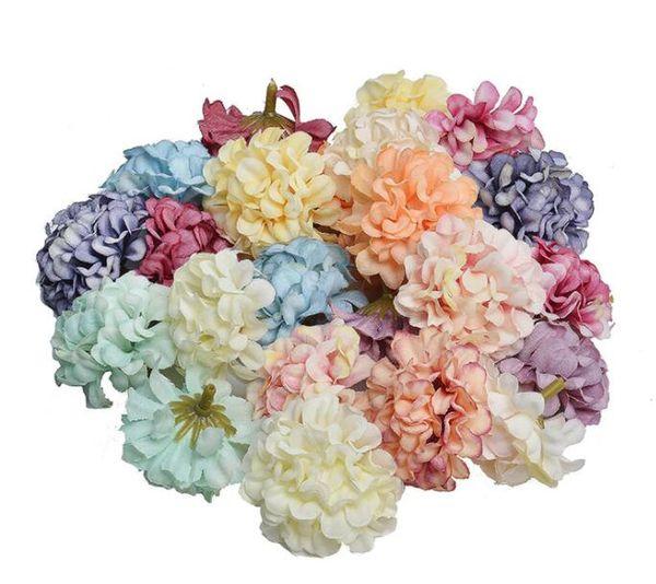 4.5 CM hydrangea artesanal cabeça de flor artificial festa de casamento decoração de casa DIY presente da grinalda scrapbook artesanato cabeça de flor a granel GB636