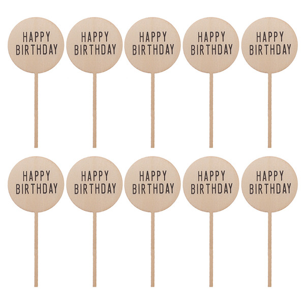 Birthday Wood Cake Topper Circle Design Personalized HAPPY BIRTHDAY Wooden Round Laser Cut Cake Topper Event Party Supplies