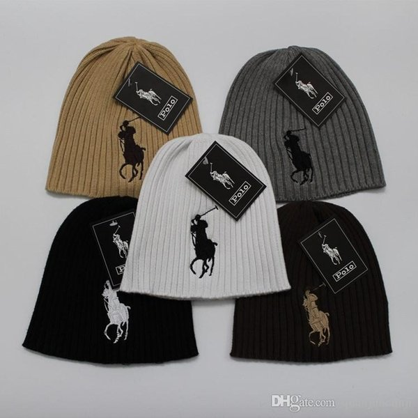 POLO beanies small horse embroidery knitted autumn winter warm hats men women couple outdoor skull cap gorro black white grey