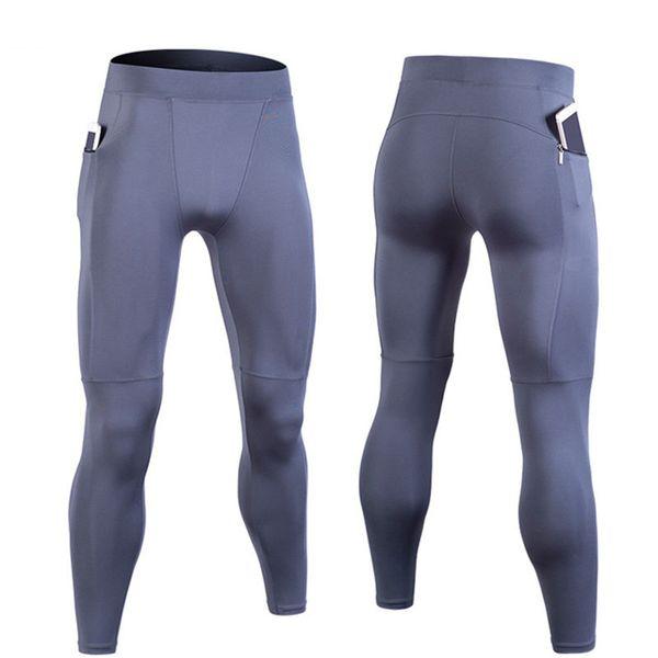 Hot Sale Compression Pants Sports Running Tight Men Jogging Legging Fitness Gym Clothing Sportswear Elastic Pants Zipper Pockets
