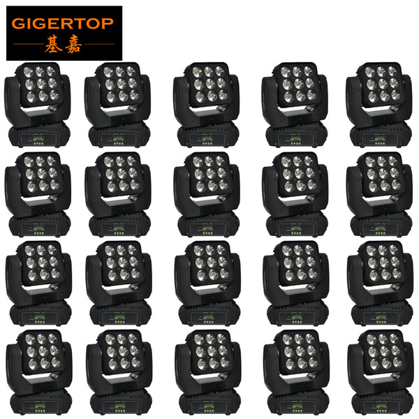 Gigertop 20 Pack 9x10W RGBW Led Moving Head Matrix Light Ultimted Rotation 3x3 Matrix Pixel Led Control 25 Degree Beam Effect LCD Display