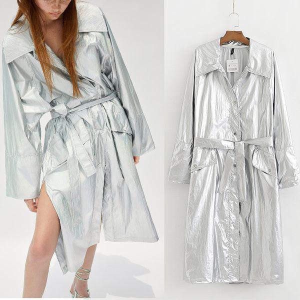Sonbahar Kış Uzun Palto kadın ceket 2019 Yüksek Moda yaka kuşaklı Ceketler katı Gümüş renk palto Kadın Rahat Giyim