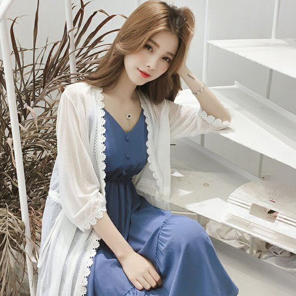 Goddess Model Suit Summer 2018 New Mid-long V-tie Receiving Dress + Sunscreen Card Two-piece Suit