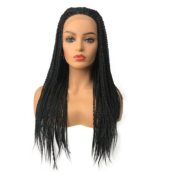 Natural hairline Twist Lace Front Wig Long Black Braided Box Braids wigs with baby hair 180% density Full synthetic wigs for black women