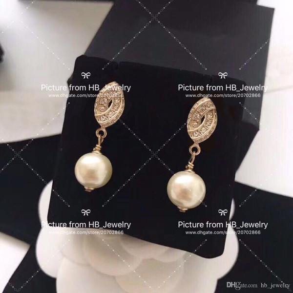 Double row diamond pearl Designer Earrings for lady Design Women Party Wedding Lovers gift Luxury Jewelry for Bride With BOX..