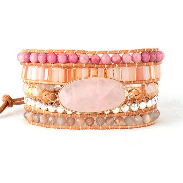 Perle donna Bracciale in pelle naturale pietre rosa quarzo cristallo 5 fili intrecciati bracciali avvolgente braccialetto bohemien Dropship J190721