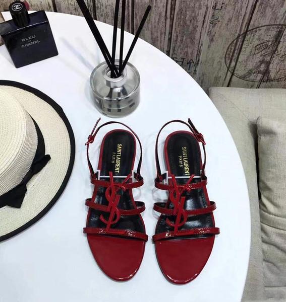 2019 Rouge Brand new Sexy chaussures Femme Été Boucle Sangle en bambou joint Sandales à talons plats chaussures plates Bout rond Mode Unique Flatforms