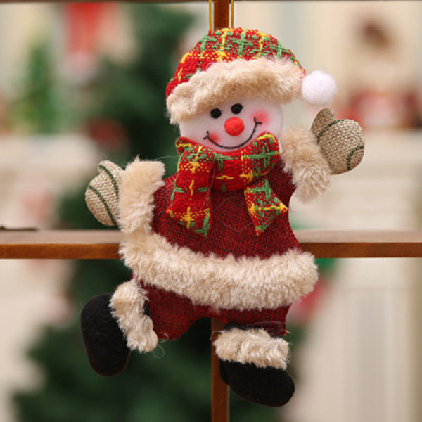 Christmas Gift Ornaments Santa Claus Snowman Tree Novelty Merry Christmas Toy Hang Deer Bear Small Doll Decorations Christmas Window Scene
