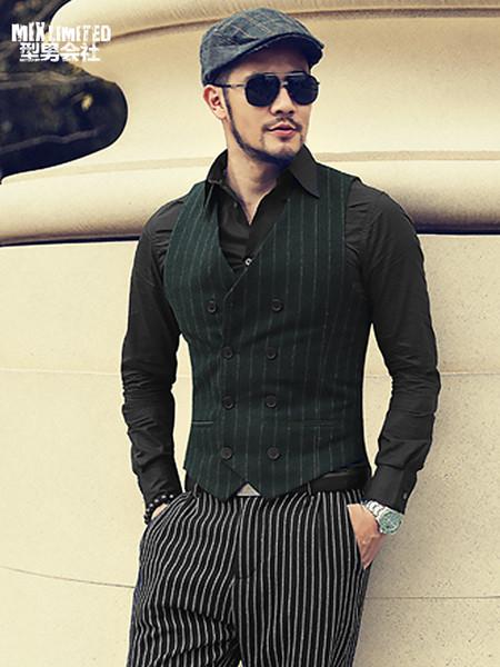 Nouveau hiver hommes rayé coton Casual style européen Slim Fit gilet hommes costume sans manches gilet veste Foraml Gilet M106-2