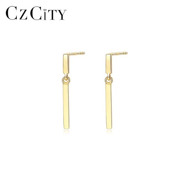 CZCITY 100% 14K Gold Bullion Pendientes de gota para mujeres Temperamento simple 14K Pendientes de oro amarillo Accesorios de joyería 2019 Nuevo