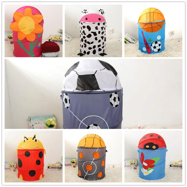 New type large capacity dirty clothes waterproof bucket bedroom clothes storage spring receptacle bucket, save space, shrink savings T3I5002
