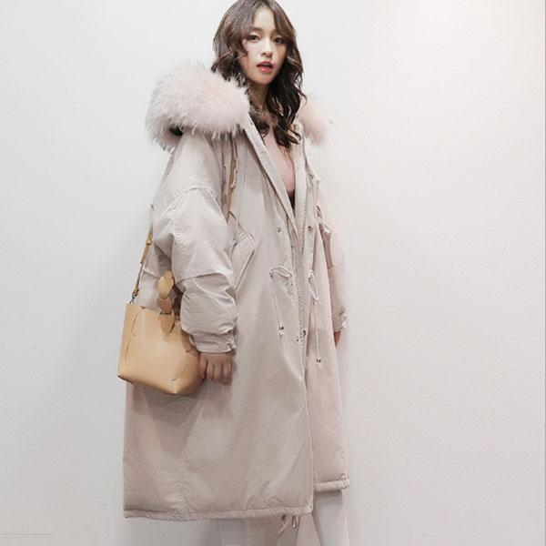 dame Winter rosa / Beige Daunenjacke Frauen Langen Mantel Warme Parkas Dicke Weibliche Warme Wolle pelzkragen Hohe Qualität Jacken Plus Größe