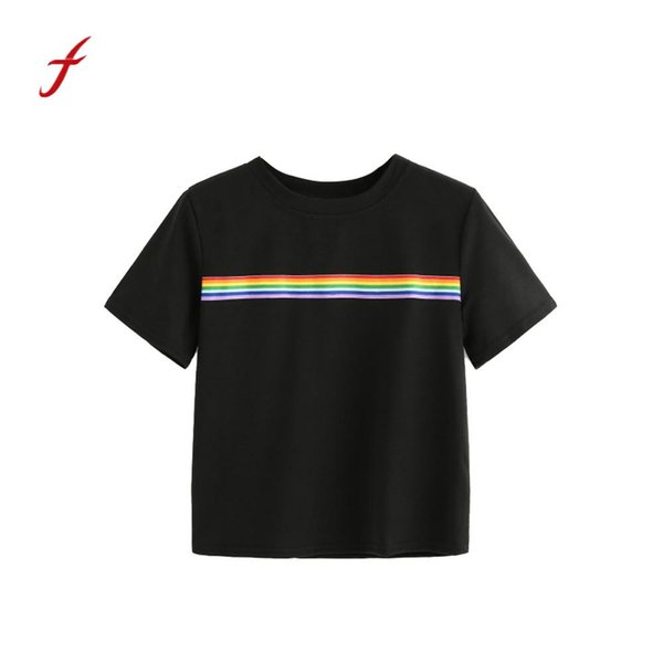 Women Summer Rainbow chemise femme Block Striped Crop Top School Girl Teen T shirts High Quality Casual Loose Tops vogue