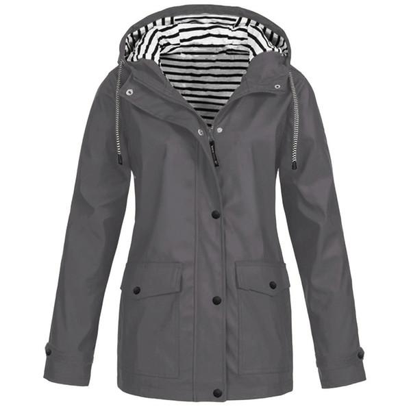 Kadınlar Hızlı Kurutma Ceket Katı Yağmur Ceket Açık Artı boyutu Suya Kapşonlu Yağmurluk Windproof Coats Binme Düğme Kabanlar