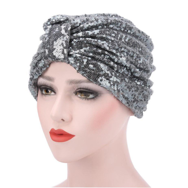 4c4c98f0c Muslim Women Sequins Ruffle Cotton Knot Turban Hat Scarf Cancer Chemo  Beanies Headwear Head Wrap Cap Hair Loss Cover Accessories Knit Hat Hats  And ...