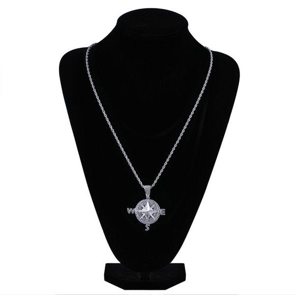 Creativo rotondo collana pendente della bussola uomini Hip Hop Micro-intarsio zircone collana di rame geometrico argento placcato accessori di gioielli all'ingrosso