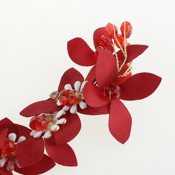 4pcs Vintage Chinese Traditional Red Flower Hair Clip Headdress Tassel Earrings Wedding Bridal Bridesmaid Jewelry Photo Prop
