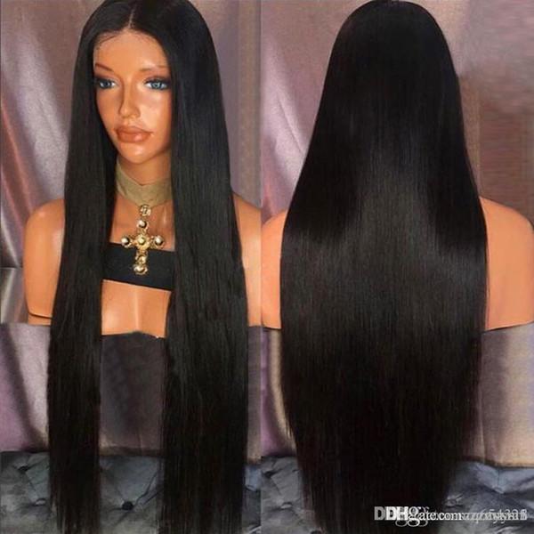 Perruque ultra longue partie médiane droite perruque synthétique + bouchon perruque