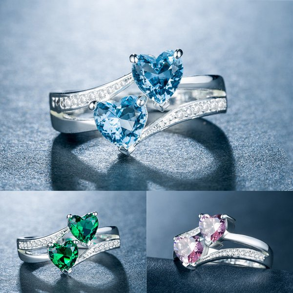 Fatpig doble corazón diamantes de imitación anillo mujeres boda Anillos Compromiso tamaño 6 7 8 9 10 11 12 anillos diamantes de imitac
