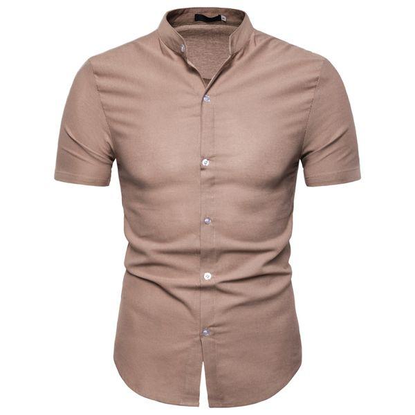 Hombres Camisas de vestir Camisas de lino Slim Fit Camisas formales Manga corta Verano Casual Tops Nueva llegada S M L XL 2XL Blanco Negro