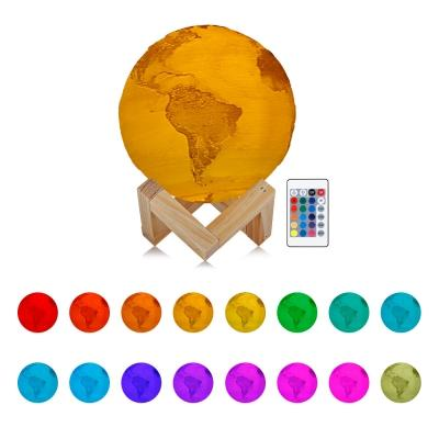3D Light Print Earth Lamp 16 Colors Earth Lamps Rechargeable Change Remote Control Usb Led Night Light Home Decor Creative Gift