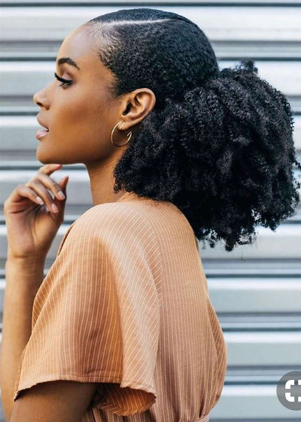 African American Natural Ponytail Hairstyle Super Gorgeous Quick And Easy Low Sleek Puff With Clips Afro Kinky Curly Ponytail Hair Extension Real Hair