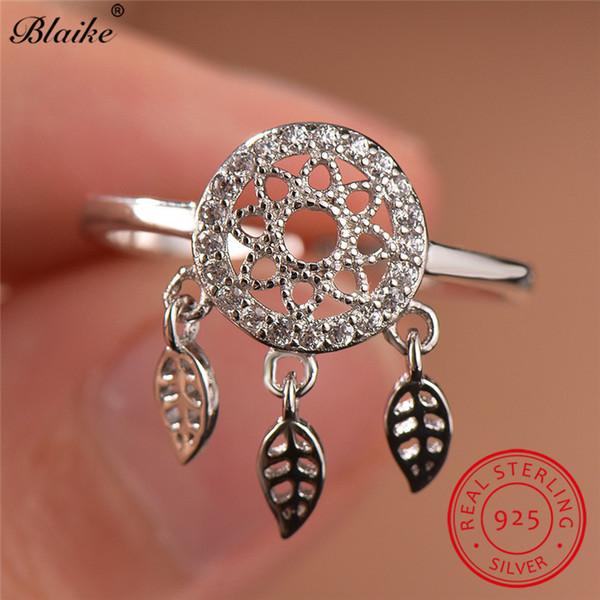 Blaike Boho Female Lotus Ring Antique 925 Sterling Silver Rings For Women Cute Tree Leaf Tassel Ring Wedding Bands Fine Jewelry