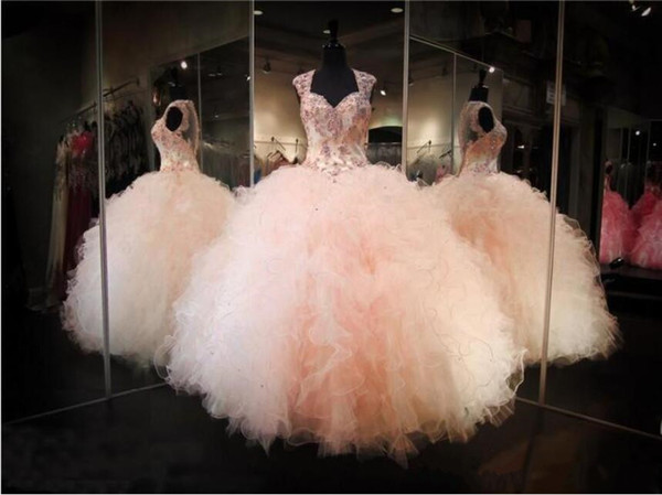 Blush Pink Ball Gown Quinceanera Dresses Cap Sleeves Button up Illusion Back Sexy Applique Lace Sweet 16 Dresses Special Occasion Dress