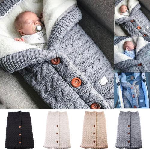 Newborn Baby Blanket Knit Cotton Crochet Swaddle New Solid Winter Warm Sleeping Bag Stroller Wrap Sleep Blanket