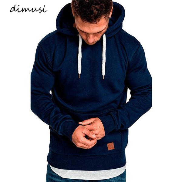 Dimusi Mens Hoodies Fashion Mens Solid Color Hooded Slim Sweatshirt Mens Hoodie Hip Hop Hoodies Sportswear Tracksuit Clothing SH190824